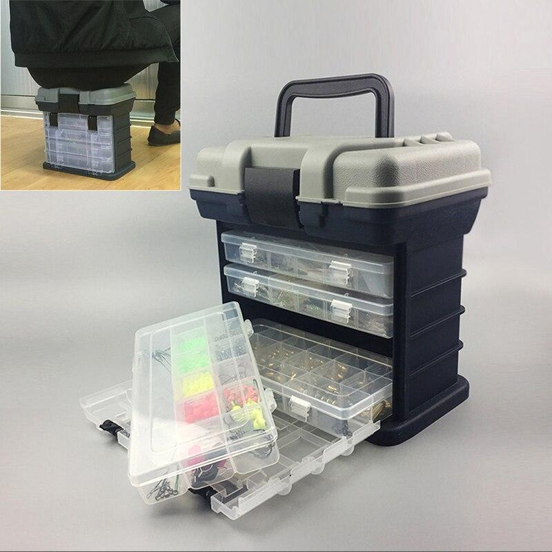 PP + ABS De Pêche valise 5 Couche Boîte De Pêche Poignée En Plastique Boîte De Pêche Pêche À La Carpe Outils résistant aux Chocs sécurisé loquet