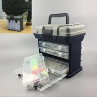 PP + ABS Vissen koffer 5 Layer Visgerei Doos Plastic Handvat Vissen Box Karpervissen Gereedschap slagvast secure klink