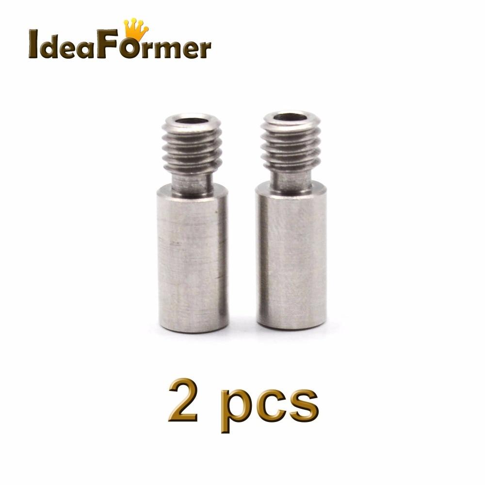 2pcs 3D Printer Chimera Extruder Heat Break V6 Dual Hotend J-head Throat All Metal Length 20mm 1.75mm 3.00mm Filament Reprap