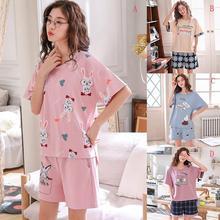 Yfashion Women Cotton Pajamas Set Rabbit Cartoon Short Sleeve Lovely Pattern Tops +Soft Shorts Home Wear Suit Pajama Sets
