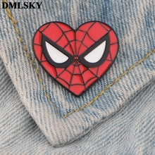 DMLSKY Cartoon Spiderman heart Pins Enamel and Brooches Women Men Lapel Pin Backpack Badge Hat Jewelry M3710