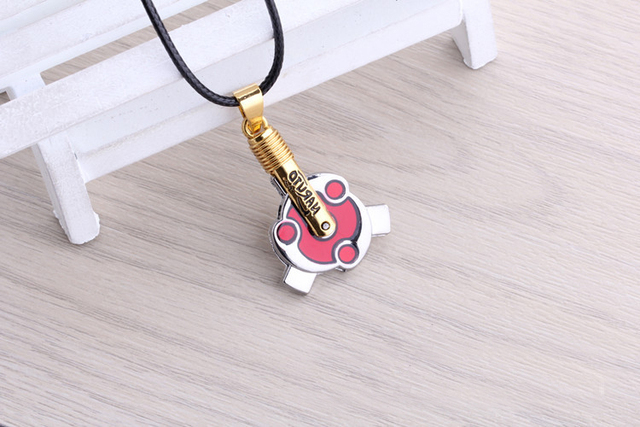 Naruto Sasuke Sharingan Uchiha Rotateable Pendant Necklace