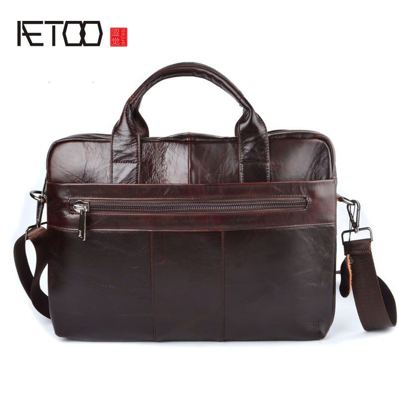 AETOO  Genuine Leather Briefcases Cowhide Men Crossbody Bags Men's Travel Shoulder Bags Tote Laptop Briefcases Handbags Brown