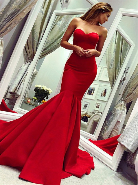 Sexy Sweetheart czerwone suknie balowe 2019 długie piętro długość suknia w stylu syreny De Soiree tanie sprzedaż Dress Party dla kobiet tanie i dobre opinie Prom dresses Mbcullyd0304 Draped Kochanie Bez rękawów Satin Pociąg sweep Backless Naturalne Poliester Trąbka mermaid