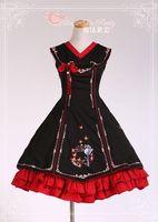 Women Vintage Chinese Style Embroidery Printed Princess Bow Cotton JSK Sweet Lolita Dress+Headdress