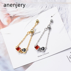 anenjery Two Colors Silver Color Adjustable Love Heart Chain Index Finger Rings For Women anillos Bague S-R384