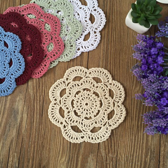 15cm 12 Pcs Lovely Crochet Pattern Round Doilies Hand Crocheted
