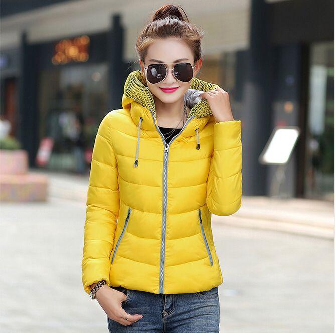 Size L 3XL Plus Size Fashion Yellow Women Winter Coat Cotton Slim Hooded Warm Neck Zipper