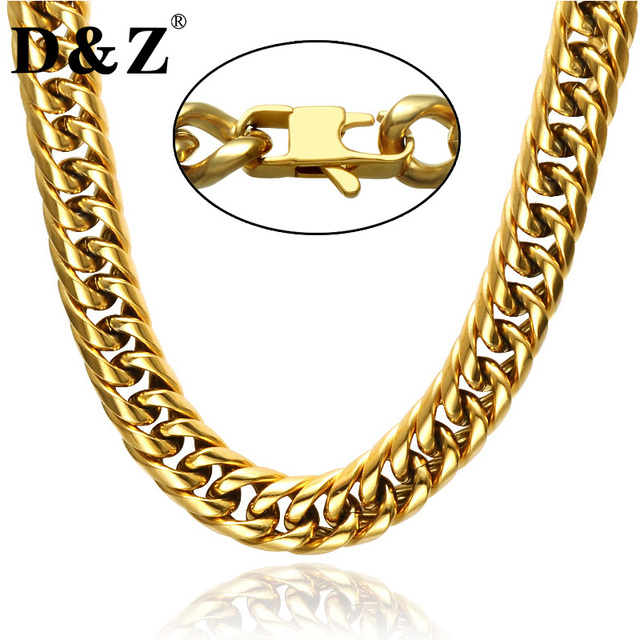 D&Z Hiphop Gold Filled 24Inch Heavy Titanium Stainless Steel Chain Necklace 60CM Curb Cuban Link Chain Necklaces for Men Jewelry