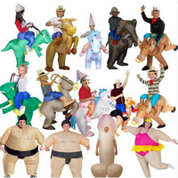 2017 Inflatable Halloween Costume For Adult Kids Fan T Rex Gorilla Sumo Cow Horse Cowboy Unicorn