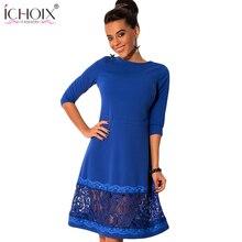 ICHOIX 2019 New Autumn Women Vestidos Fashion Big Size O-Neck Long Sleeve Stitching Lace Dress Ladies plus size Dresses Fashion