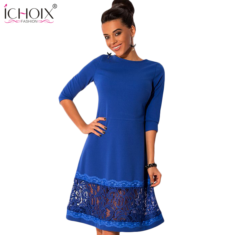 ICHOIX 2019 Ny Höst Kvinnor Vestidos Fashion Stor Storlek O-Neck Långärmad Stitching Lace Dress Dam Plus Size Dresses Fashion