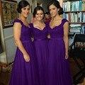 Cheap Purple Long Bridesmaid Dresses Wedding Party Dress Chiffon Pleated Side Zipper Floor Length Plus Size