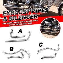 Высококачественная труба глушителя мотоцикла полная выхлопная система+ глушители для Yamaha XV535 XV 535 VIRAGO XV400 XV 400 VIRAGO 1988-2004