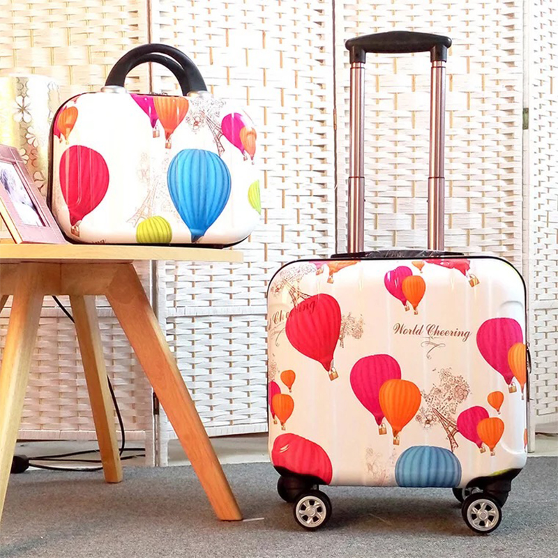 Popular carry on travel luggage set fashion mini trolley suitcase with cosmetic bag 18 inch boarding