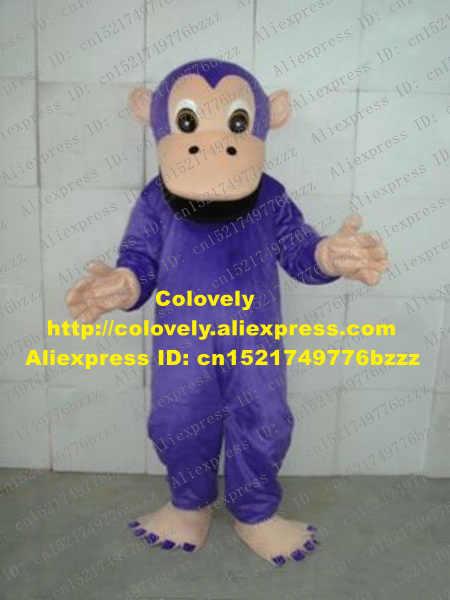 Mewah Ungu Monyet Kostum Maskot Mascotte Gorila Orangoutang Ape Orangutan dengan Besar Mulut Hitam Dewasa No 2009 Kapal Gratis