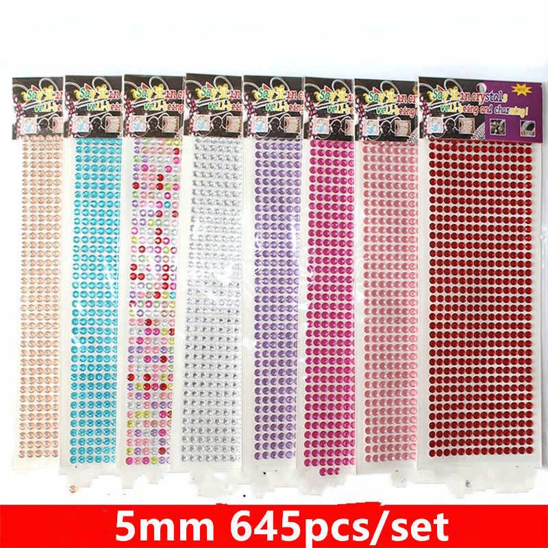 645pcs set 5mm colour Crystal 3D Car Stickers Sticker Diamond Decoration  Rhinestones Silver Flatback Rhinestones 0d62568119ea
