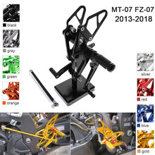 CNC Aluminum Adjustable Rearsets Foot Pegs For Yamaha FZ MT 07 MT-07 FZ-07 2013 2014 2015 2016 2017 2018 XSR700 motoo exhaust full system for yamaha fz 07 mt 07 fz 07 mt 07 2014 2017 with muffler xsr700 2016 2017