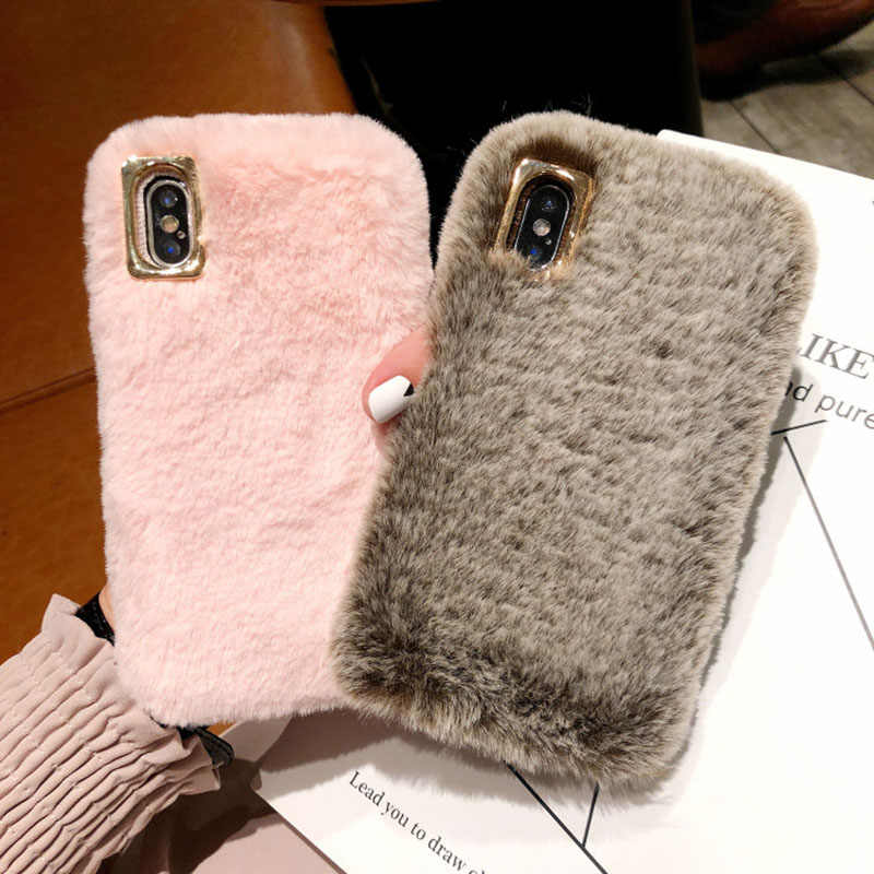 Luxury Fluffy Rabbit Hair Phone Case For iphone 7 8 6 6s plus X XS MAX XR Glitter Crystal Fur Plush Cover for iphone 11 Pro Max
