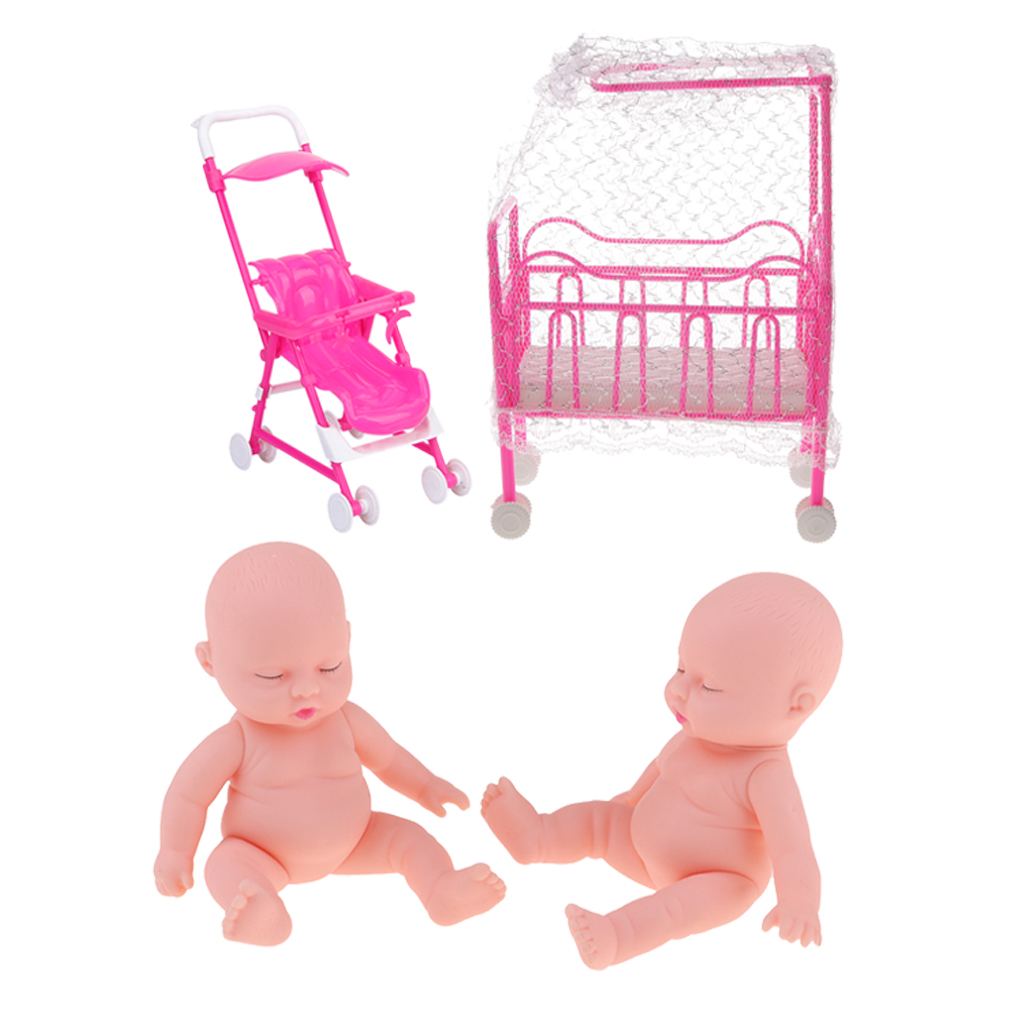 Miniature Rocking Cradle Crib Baby Doll Furniture Toys For Mellchan Doll