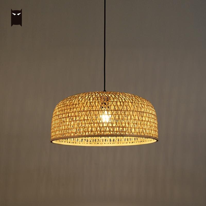 Us 258 0 50cm Bamboo Wicker Rattan Shade Pendant Lighting Fixture Hand Craft Weaving Asian Ceiling Lamp Plafon Re Lounge Restaurant In