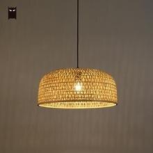 50 см бамбуковый Плетеный ротанговый тент подвесной светильник ручной работы Ткачество Азиатский потолок висячая лампа на потолке блеск для ресторана