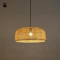 50cm Bamboo Wicker Rattan Shade Pendant Lighting Fixture Hand Craft Weaving Asian Ceiling Lamp Plafon Lustre Lounge Restaurant