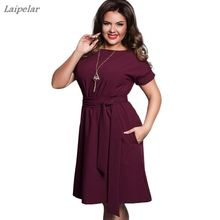 Plus Size Solid Party Dress Women Clothing Summer Style O-neck Bodycon Chiffon Dress Elegant Casual Women belt Dresses Big Sizes женское платье dresses 2015 printsleeveless o summer style women dress