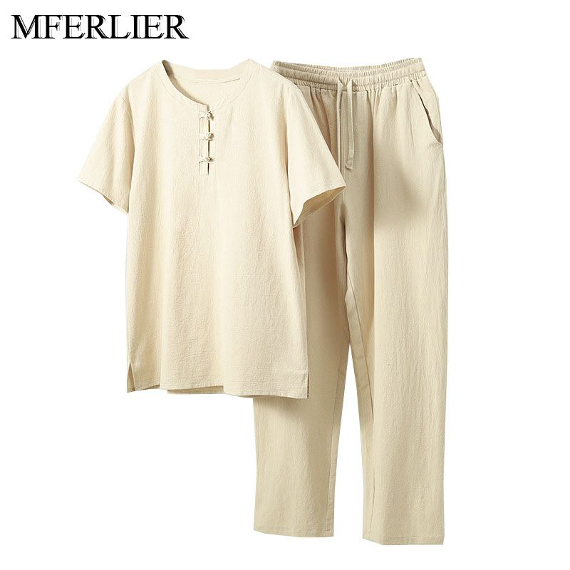 MFERLIER Summer Men Shirt 5XL 6XL 7XL 8XL 9XL 10XL Bust 157cm Plus Size Linen Large Size Shirt With Pants Men 5 Colors