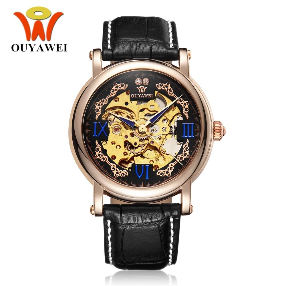 4528e095585 Homem Homens Relógio de Pulso automático Auto Vento Marca de Luxo OYW  Esqueleto Pulseira de Couro Preto Moda Casual Masculino Relógio Montre  Homme Presente ...