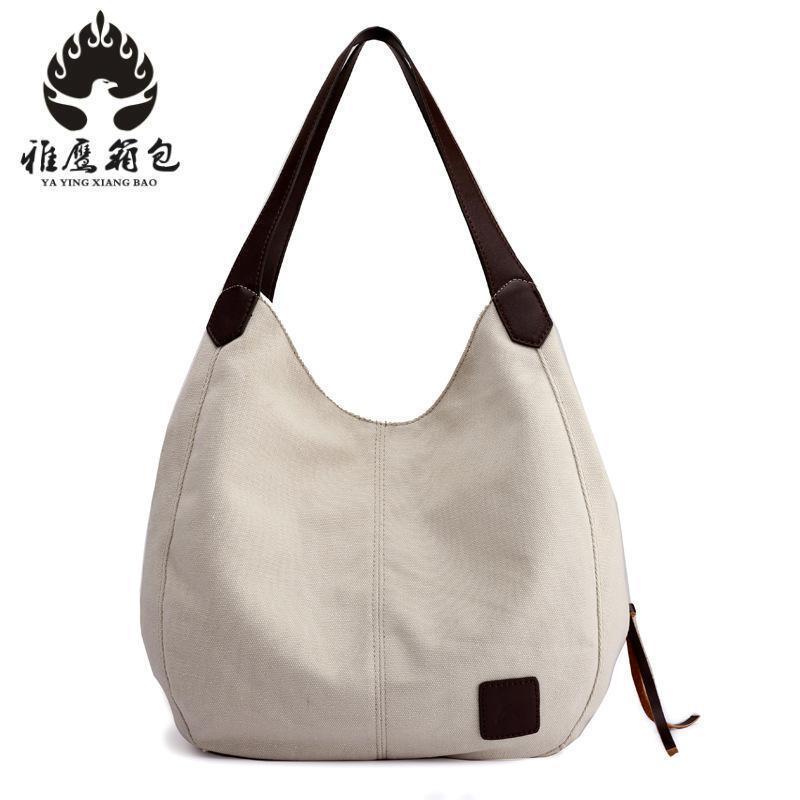 Canvas Bag Handbag Large Hobos Totes Bolsas Vintage Solid Woman Shoulder Bag Sac