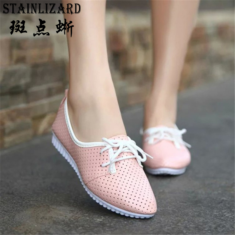 Hot Sale 2016 New Fashion Cut-outs Breathable Flat Woman Shoes Leisure Lace-up Pointed Toe Small White Shoes Size 35-40 ST235 2016 hot sale new brand womens high heels sandals summer breathable fashion rivets sexy pointed toe female cut outs casual shoes