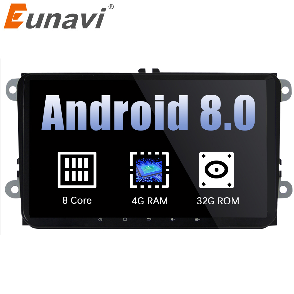 Eunavi 2 din 9 ''Android 8.0 Octa Core Car Radio Stereo GPS per il VW Passat B6 CC Polo GOLF 5 6 Jetta Touran Tiguan Magotan