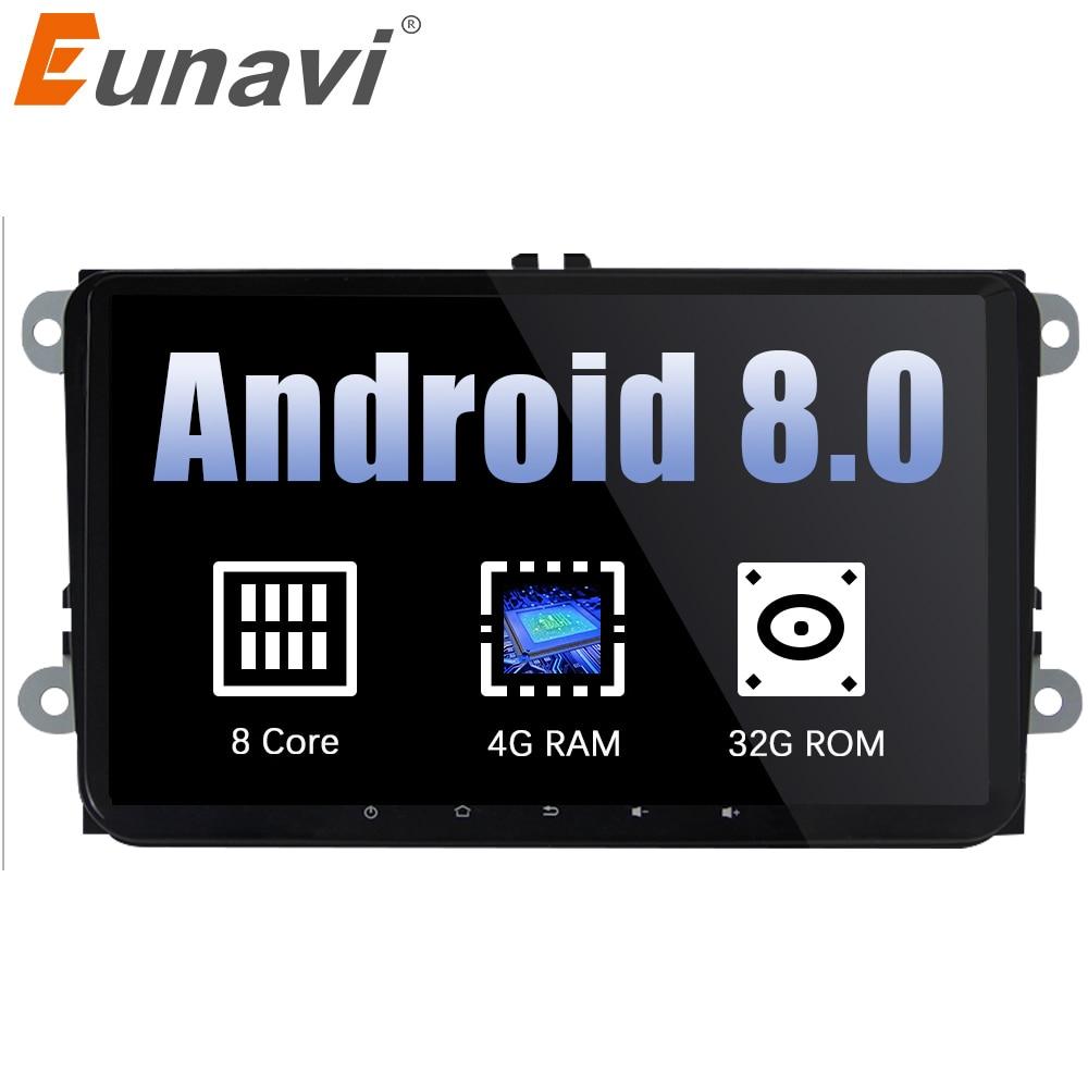 Eunavi 2 din 9 ''Android 8.0 Octa base De Voiture Radio Stéréo GPS pour VW Passat B6 CC Polo DE GOLF 5 6 Touran Jetta Tiguan Magotan Siège