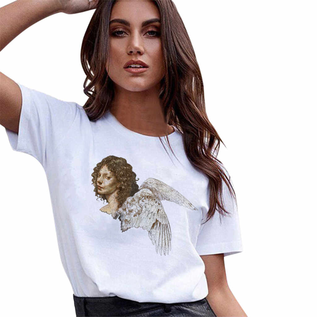 Women Plus Size Angel Print Short Sleeve Loose T Shirt