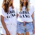 GANG impressão DA MENINA Melhor amigo camiseta femme preto branco tamanho grande de algodão mulheres camiseta tops solto casual t-shirt das mulheres S-2XL