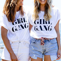 GIRL GANG print Best friend t shirt femme black white large size cotton women tshirt tops loose casual women t-shirt S-2XL