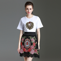 Casual Sets White 2017 Short Sleeve Diamonds High Quality Loose Shirts Lace Cross Stitch Embroidery Fashion