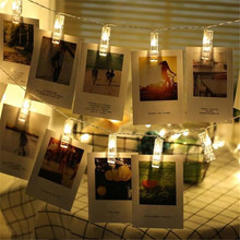 10LED Garland Card Photo Clip Led String Fairy Lights Battery Operated Christmas Garlands Wedding Valentines Decoration