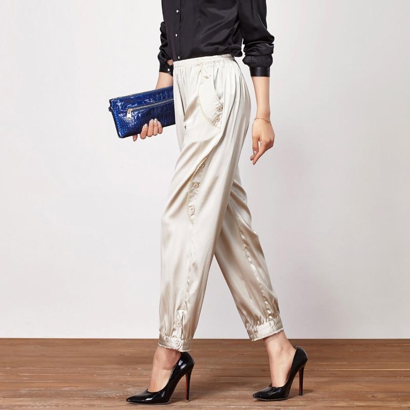 100% Silk Women Harem Pants 2019 Summer Chiffon Pants Calf Length Elastic Waist Casual Korean Pants Minimalist OL Solid Trousers
