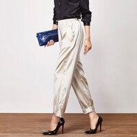 Nature Silk Harem Pants Women 2019 Summer Silver Korean Pants Calf Length Elastic Waist Pants Solid 100% Silk Real Silk Trousers