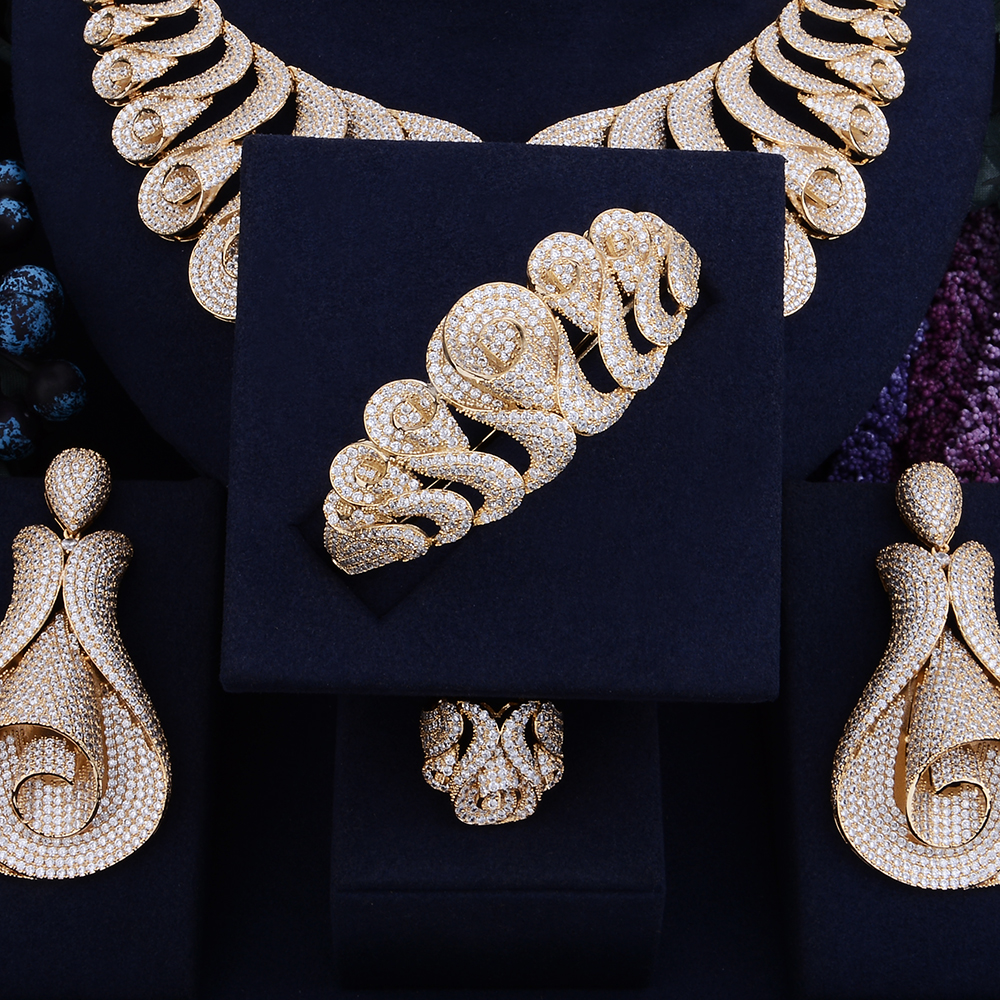 Image 3 - GODKI 62MM Flower Super Luxury Women Nigerian Wedding Naija Bride Cubic Zirconia Necklace Ring Bangle Earring Dubai Jewelry Set-in Jewelry Sets from Jewelry & Accessories