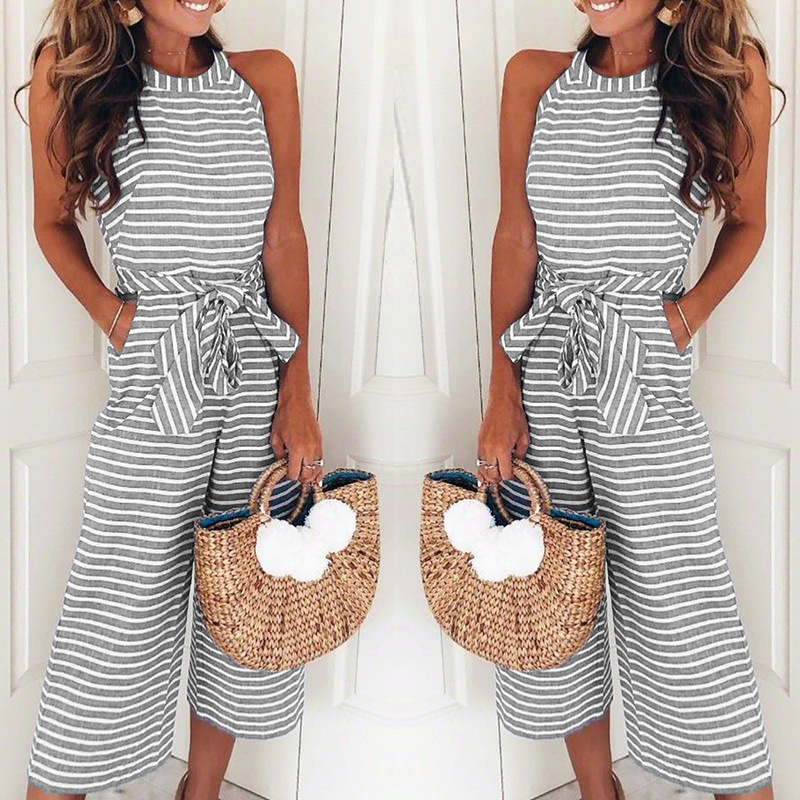 Women Summer O-Neck Bowknot Pants Playsuit Sashes Pockets Sleeveless Rompers Overalls Sexy Office Lady Striped Jumpsuits