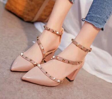 Women Pumps Fashion Design Rivets Sandals Comfortable Square