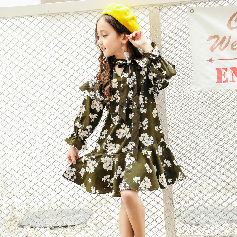 2018 printemps automne filles adolescentes robes en mousseline de soie Design Floral noir petite fleur robes de mode Proms âge 56789 10 11 12 T ans