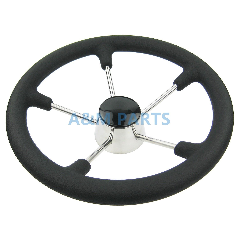 13-1/2 Inch Destroyer Marine Steering Wheel 5 Spoke With Black Foam Grip - Boat Steering Wheel13-1/2 Inch Destroyer Marine Steering Wheel 5 Spoke With Black Foam Grip - Boat Steering Wheel