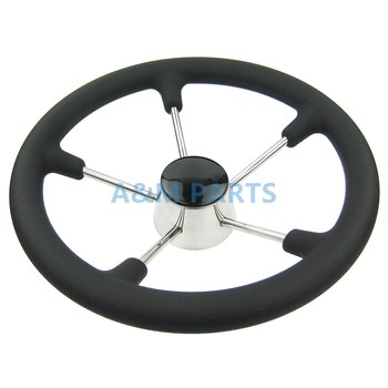 13-1/2 Inch Destroyer Marine Steering Wheel 5 Spoke With Black Foam Grip - Boat Steering Wheel