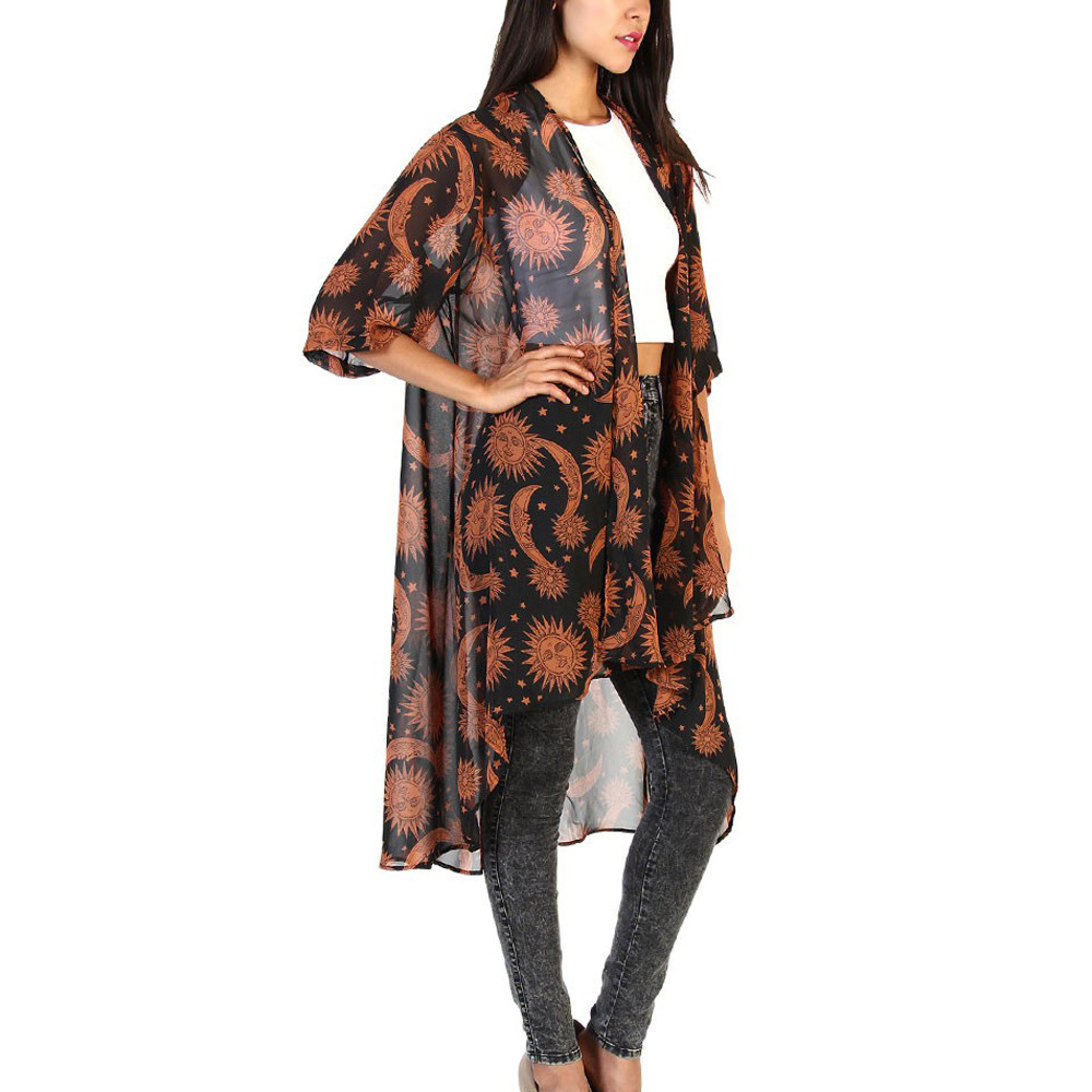 Sun Moon Floral Print Cardigan Women  Loose Shawl Kimono Top  Chiffon Blouses   Cover Up Shirt Blouse Blusas Feminina 2019