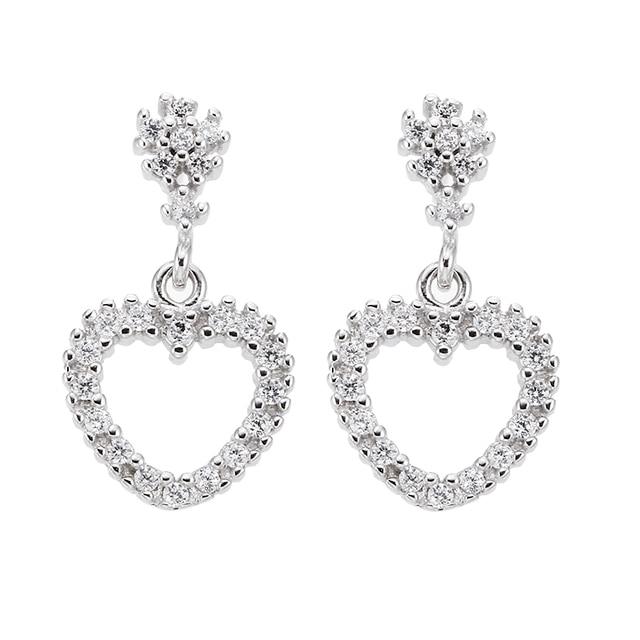 70410e3c9 100% 925 sterling silver romantic love heart shiny cz zircon ladies`stud earrings  wholesale jewelry women gift drop shipping