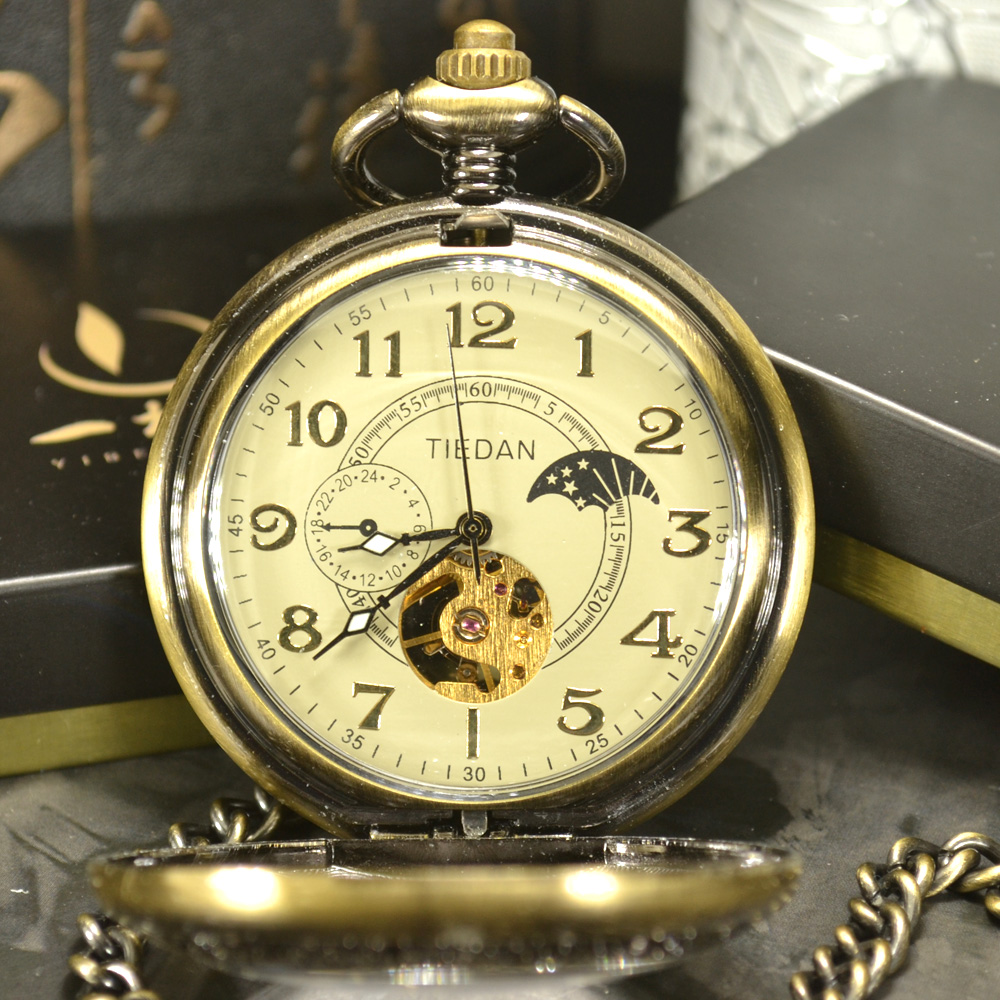 TIEDAN Luxury Skeleton Bronze Retro Antique Skeleton Mechanical Pocket Watch Men Chain N ...